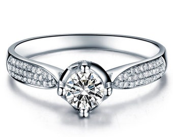 Round Cut Diamond Engagement Ring 14k White Gold or Yellow Gold Art Deco Natural Diamond Ring