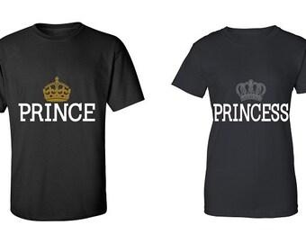Couple T-shirt - Prince & Princess - 2 Couple Tees - Matching Love Crewneck T-shirts