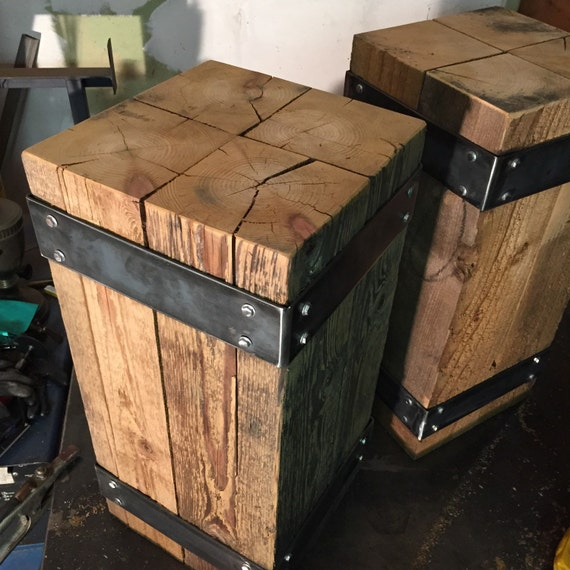 Industrial Nightstand End Table Beam End Table Steel And