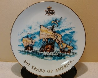 Christopher Columbus Quincentennial Commemorative Plate - Nina, Pinta, Santa Maria - 500 Years of America