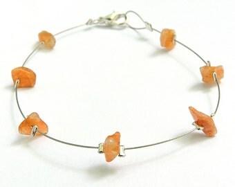 Silver bracelet sunstone, handmade gemstone jewelry dainty wire bracelet natural sunstone jewelry gemstone handmade bracelet minimalist laya