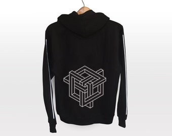Visual Knot Hoodie - light reflective silver print | Geometrical Pattern
