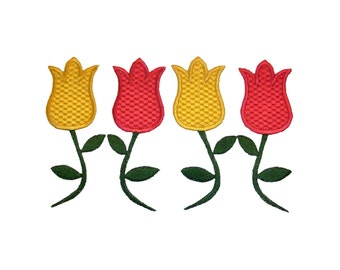 "TULIPS for the Spring! Machine Embroidery.  Size  5"" x 7"", 4"" x 4"""
