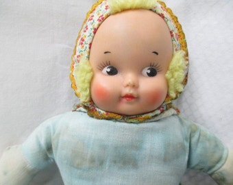 vtg two faced doll, happy face sad face, vtg old fabric doll, much loved distressed, repurpose repair, TLC doll project, sweet orphan doll