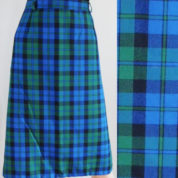 vintge blue green tartan plaid skirt pencil skirt