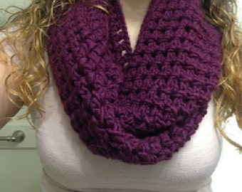 Soft wool and acrylic plum infinity scarf