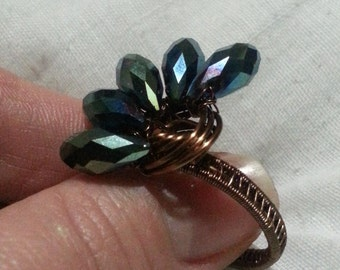 Antique Bronze Wire Wrapped Ring with Green Crystal Glass Beads
