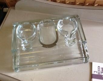 Vintage  pressed glass desk tidy.