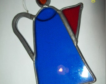 "Vintage Sun Catcher 4.5""  Blue & Red Teapot"