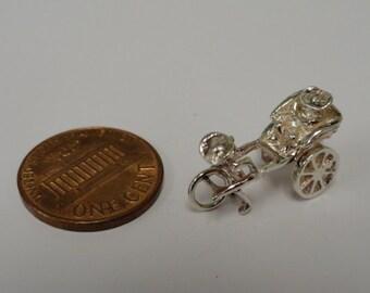 Vintage Sterling Silver Rickshaw Chinese Charm for Bracelet Moving Parts