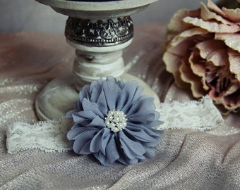 Grey Flower Headband On Ivory Lace