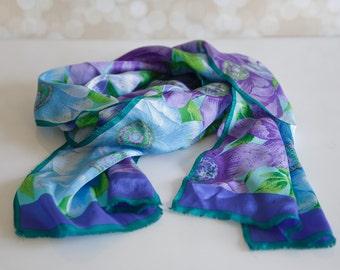 1990s Oscar de la Renta Studio Silk Floral Scarf