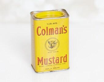 Mid Century Yellow Colman's Bull's Head Mustard Tin