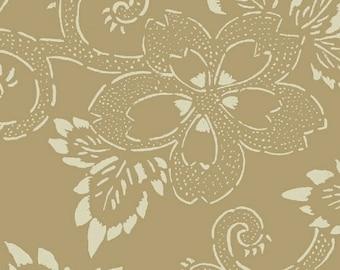 Midnight Blues - Tan Large Floral Print Fabric