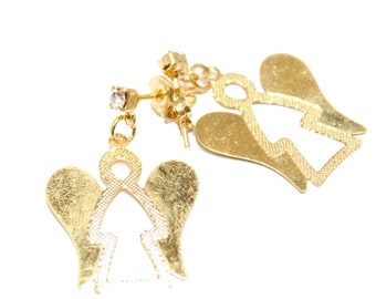 Angel Dangle Earrings with Cubic Zirconia 18k Gold Plated Dangle Earrings