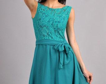 Aqua Blue Wedding Dress ,Maxi dress. Chiffon Dress with Bow,Lace Dress Circle Skirt,Engagement Dress.