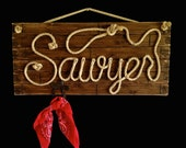 """SAWYER: 32"""" Western Rope Name Sign with ROPE HANGER Cowboy Theme Room Nursery- Brown Stain Finish with Rope Hanger"""
