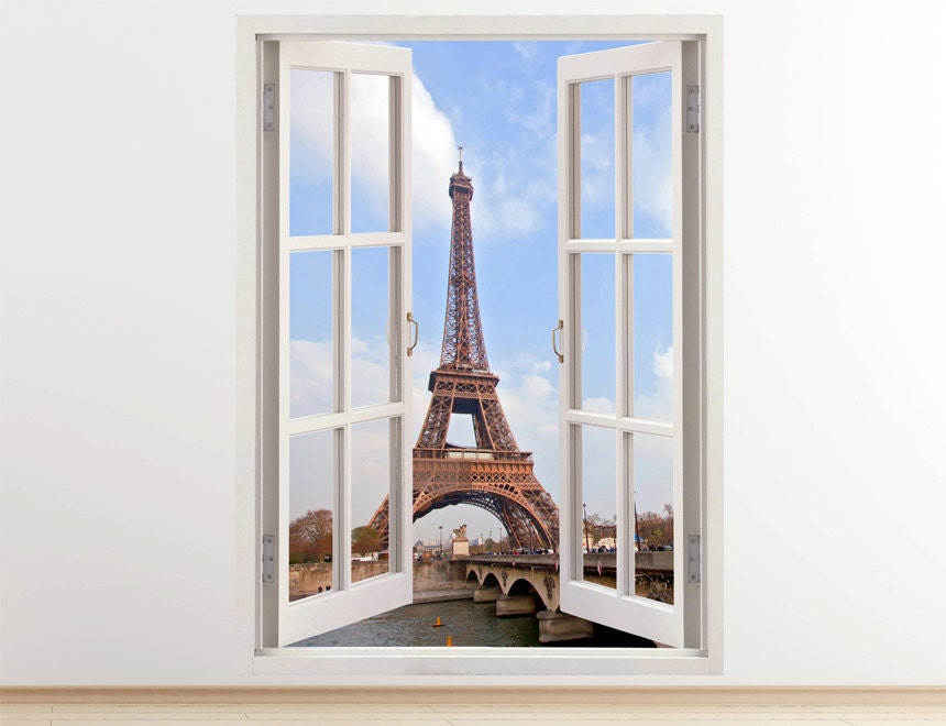 eiffel tower wall decal vertical 3d window paris sticker for. Black Bedroom Furniture Sets. Home Design Ideas
