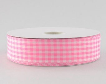 "Pink and White Gingham Ribbon - 1.5"" x 10 Yards"