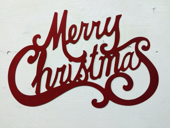 Metal Merry Christmas Sign 24 X 15 5 By Marriedtothemetal
