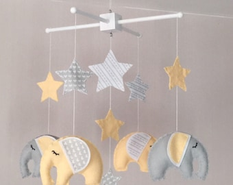 Baby Mobile - Elephant Mobile - Yellow and grey - Cot Mobile - Baby boy Mobile - Nursery Decror - Pastel - Crib Mobile