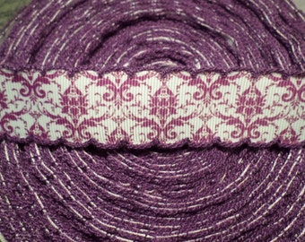 Purple Moonstitch Demask Grosgrain Ribbon