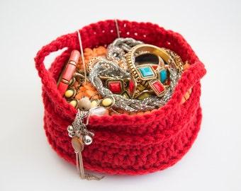Handmade Crochet Round Basket (small)