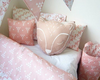 Pink Fox Cushion, Girls pillow, kids decor