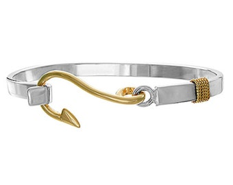 Fish hook Bracelet in Sterling Silver w Rhodium Gold Plating, Made on Cape Cod