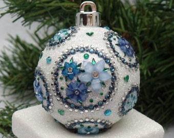 Blue & White Floral Circles Christmas Ornament