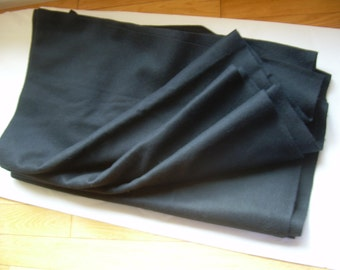 2 Yds. vintage  Black MELTON WOOL COATING Fabric 59+ inches Wide,very thick + warm. Import to Canada in the early 1990's from Europe.