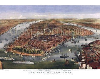 New York City in 1870 - Bird's Eye View Map, Aerial, Panorama, Vintage, Antique, Reproduction, Giclée, Framable, Fine Art
