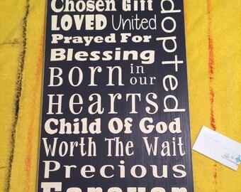 Adoption Baby Gift typography subway art sign