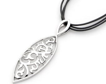 Sterling Silver Marquise shaped swirl, Surf Pendant Necklace