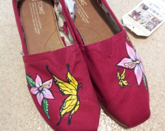Toms Shoes Customized Butterfly & Flower