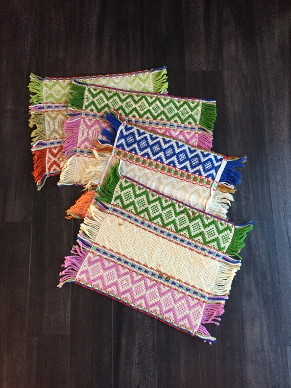 Vintage Hand Woven Colorful Place Mats Set of 4 with Fringe