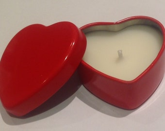 Candles - Scented Heart shaped tea lights in lovely red tins...perfect for someone special!