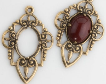 Stamped oxidized brass pronged setting for 14x10mm cabochon. 37x25mm . Package of 2. b9-2392(e)