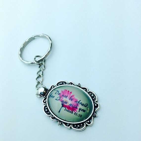 "JW Keychain Flower ""Do not be afraid for I am with you"" Isa 41.  Perfect gift for Student!"