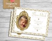 Princess birthday invitation, gold and pink party invite, princess girl party, glitter damask invitation
