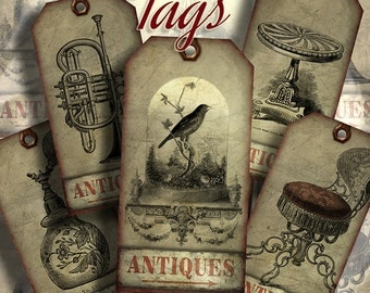 6 Tags the antiques, Digital Collage Sheet, Instant Download,printable images,scrapbooking,DIY Crafting, bookmarks