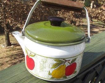 Vintage Enamel Tea Kettle 1970's