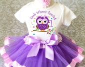 Fast Shipping - Birthday Lavender Purple Pink Owl Look Whoos Whos Age 1 first 1st Shirt & Tutu Set Girl Outfit Party baby 6 9 12 18  month