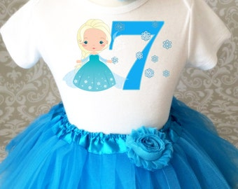 Fast Shipping - Birthday Princess Frozen Blue Ice Snow Queen Elsa Age 7 Seventh 7th Shirt & Tutu Set Girl Outfit Party