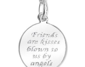 Sterling Silver Friends are Kisses Angels Necklace Friends Pendant Friends Gift