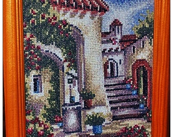 """Embroidered picture """"Italian courtyard"""""""