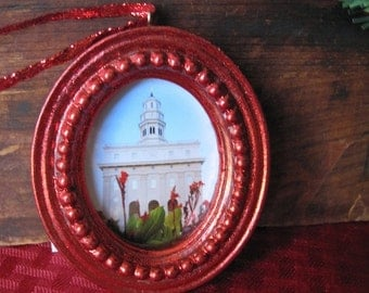 2x3 Nauvoo Temple Christmas Ornament in solid red frame | LDS Temple Art | Nauvoo Temple Summer Cannas