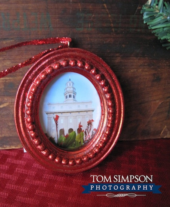Nauvoo temple christmas ornament in solid red frame lds
