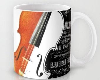Music Mug - Violin Mug - Gift Music Lover - 11 or 15 oz - Ceramic Coffee Mug - Musician Gift Violinist - Music Gift Teacher Student Gift