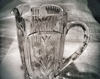 Beautiful Mid Century Leaded Glass Pitcher